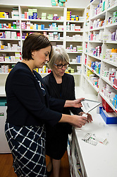 Pictured: Kezia Dugdale was shown the ropes by Amanda Rae, Community Pharmacy Scotland<br /> <br /> The Scottish  Labour leader Kezia Dugdale visited pharmacy in Edinburgh today and took the opportunity to  discuss plans on Scotland's GP situation. <br /> <br /> Ger Harley | EEm 25 April 2016