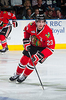 KELOWNA, CANADA - MAY 1: Dominic Turgeon #23 of Portland Winterhawks skates against the Kelowna Rockets on May 1, 2015 at Prospera Place in Kelowna, British Columbia, Canada.  (Photo by Marissa Baecker/Getty Images)  *** Local Caption *** Dominic Turgeon;
