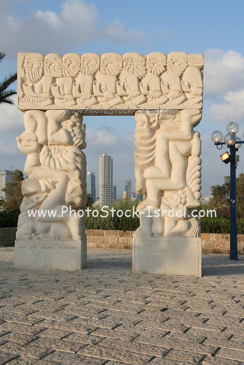 Israel, Jaffa, Gan Hapisga, Summit Garden the highest point in old Jaffa overlooking Tel Aviv. Carved stone doorway