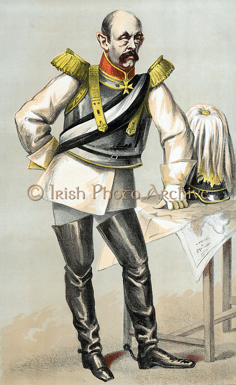 Otto Edward Leopold, Count von Bismarck (1815-1898) Prusso-German statesman and architect of modern Germany. Cartoon from 'Vanity Fair' London 1870 at the time of the Franco-Prussian War.