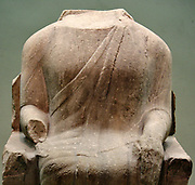 Marble statue of seated man, made in Miletus around 560-550 BC. An unknown dignitary seated on a chair decorated with lotus bud designs.