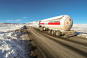 An Iranian oil truck appears to have been abandoned in Vorotan Pass highway after its triple left side wheels appear to have been exploded as it attempted to climb the hill towards Ughedzor, in Sarnakunk region of southern Armenia on Sunday, Jan 24, 2021. The snowy blizzard that hit the region caused several road traffic accidents on Sunday without any human casualties or injuries reported. (Photo/ Vudi Xhymshiti)