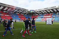 Entree des joueurs   / Remy VERCOUTRE / Supporters Caen / Tifo - 09.05.2015 -  Caen / Lyon  - 36eme journee de Ligue 1<br />