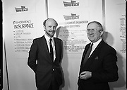 The 1989 Boat Show.   (R89)..1989..10.03.1989..03.10.1989..10th March 1989..Pat the Cope GallagherTD, Minister for the Marine attended the opening of the 1989 Boat Show held at the Point Depot, Dublin. The opening coincided with the minister's birthday...The Minister for the Marine, Pat The Cope Gallagher,is pictured in conversation with a representative of The Irish Fishermen's Organisation at the Boat Show.