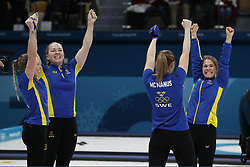 February 25, 2018 - Pyeongchang, South Korea - Sweden players including Anna Hasselborg, Sara McManus, Agnes Knochenhauer and Sofia Mabergs celebrate after the women's curling gold medal game during the Pyeongchang 2018 Olympic Winter Games at Gangneung Curling Centre (Credit Image: © David McIntyre via ZUMA Wire)