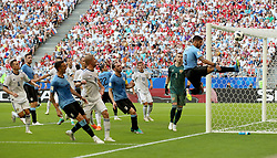 SAMARA, June 25, 2018  Luis Suarez (1st R) of Uruguay competes during the 2018 FIFA World Cup Group A match between Uruguay and Russia in Samara, Russia, June 25, 2018. (Credit Image: © Bai Xueqi/Xinhua via ZUMA Wire)