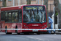 © licensed to London News Pictures. London, UK 23/04/2013. A 16 year old schoolboy who was stabbed on a bus in Highbury New Park, north London earlier this week has died from his injuries today 25th April 2013. Forensic teams look at the bus involved in the incident, a route 393 bus on Tuesday, 23 April 2013. Photo credit: Tolga Akmen/LNP