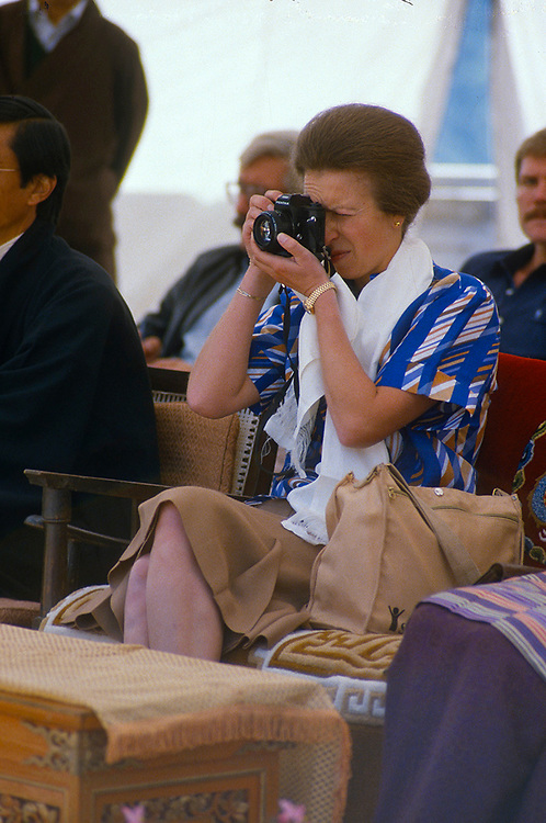 Anne, The Princess Royal seen taking photographs during a visit to a SCF project in Mussoorie, India in Feb 1984