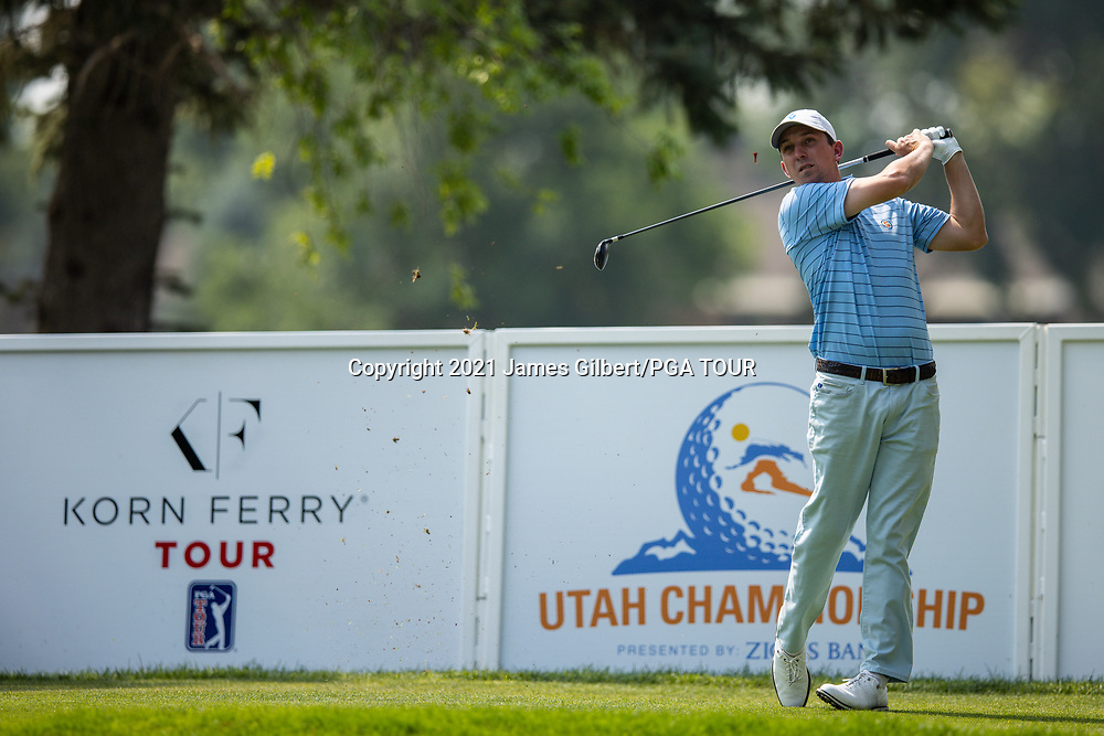 FARMINGTON, UT - AUGUST 08: Paul Haley II plays his shot from the 17th tee during the final round of the Utah Championship presented by Zions Bank at Oakridge Country Club on August 8, 2021 in Farmington, Utah. (Photo by James Gilbert/PGA TOUR via Getty Images)
