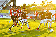 Goal - Jayden Stockley (11) of Exeter City scorers a goal to give a 1-0 lead to the home team during the EFL Sky Bet League 2 match between Exeter City and Lincoln City at St James' Park, Exeter, England on 17 May 2018. Picture by Graham Hunt.