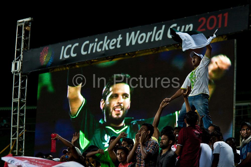 Captain Shahid Afridi    celebrates a winning wicket during the Pakistan vs Zimbabwe match at  the 2011 ICC Cricket World Cup, Kandy, Sri Lanka.