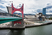 Guggenheim Museum, from the river bridge in Bilboa, Spain