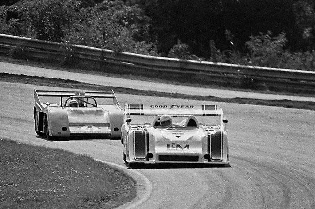 Eventual season Champion George Follmer (Porsche 917/10K) leads defending Champion Peter Revson (McLaren M20-Chevrolet) during PRACTICE at Road Atlanta Can-am 1972; photo by Pete Lyons / www.petelyons.com