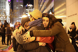 Protesters hug after attempting to cross the North Wabash Avenue bridge in downtown Chicago, IL, USA, on Wednesday, November 9, 2016. Photo by Armando L. Sanchez/Chicago Tribune/TNS/ABACAPRESS.COM