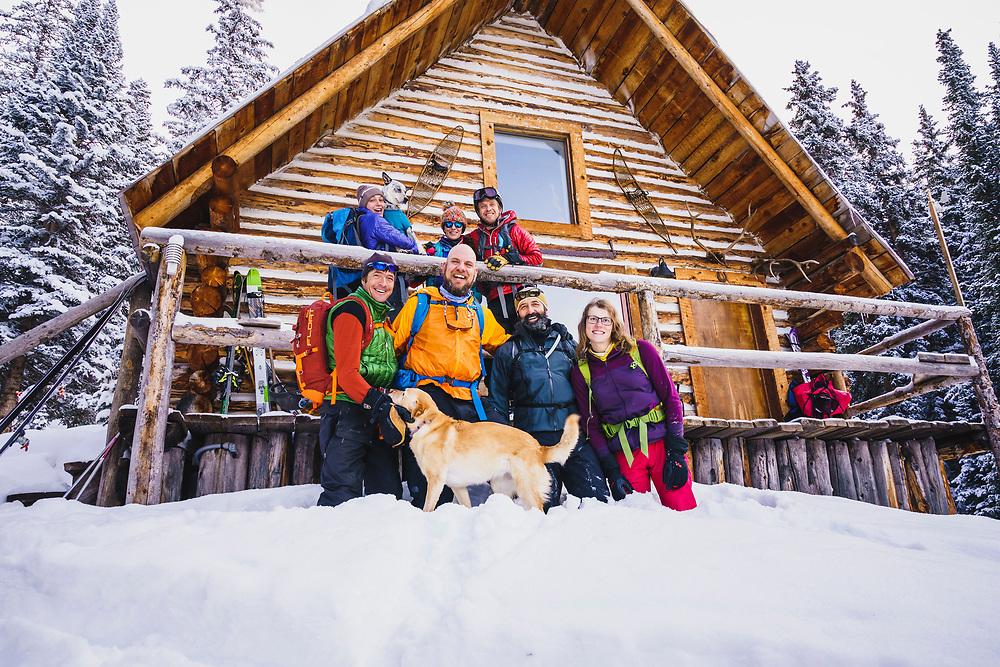 Stoke ane Awe 2019 Mount Hayden Backcountry Lodge group. Sonya Pevzner, Masha Pevzner, Jacki Arévalo, Bryce Astill, Eric Johnson, Bree Johnson, Stacy Bare, Koorosh Rassekh, and Halcy Webster.