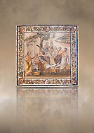 Roman mosaic of  the Academy of Plato from the Villa of T. Siminius Stephanus, inv no 124545, Naples Archaeological Musum, Italy ..<br /> <br /> If you prefer to buy from our ALAMY PHOTO LIBRARY  Collection visit : https://www.alamy.com/portfolio/paul-williams-funkystock/roman-mosaic.html - Type -   Naples    - into the LOWER SEARCH WITHIN GALLERY box. Refine search by adding background colour, place, museum etc<br /> <br /> Visit our ROMAN MOSAIC PHOTO COLLECTIONS for more photos to download  as wall art prints https://funkystock.photoshelter.com/gallery-collection/Roman-Mosaics-Art-Pictures-Images/C0000LcfNel7FpLI