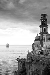 Schooner Liberty Clipper leaving Amalfi Italy.