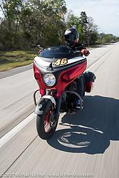 Motorcycle Racer Carey Hart riding his Custom 2017 Indian Chieftain during Daytona Beach Bike Week. FL, USA. Friday March 10, 2017. Photography ©2017 Michael Lichter.
