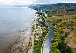 Aerial view from drone of Crinan Canal at Ardrishaig in Argyll & Bute in Scotland , UK