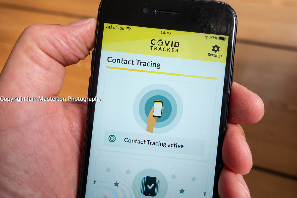 Detail of Covid tracker app produced by Government of Ireland on a smart phone screen