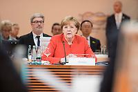 07 JUL 2017, HAMBURG/GERMANY:<br /> Angela Merkel, CDU, Bundeskanzlerin, helt die Eroeffnungsrede, 1. Arbeitssitzung, G20 Gipfel, Messe<br /> IMAGE: 20170707-01-013<br /> KEYWORDS: G20 Summit, Deutschland