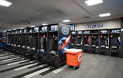 The Florida locker room prior to the Chick-fil-A Peach Bowl at the Mercedes-Benz Stadium  Saturday, December 29, 2018, in Atlanta. ( Paul Abell via Abell Images for Chick-fil-A Peach Bowl)