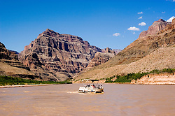 Scenic, Grand Canyon Boat trip, Boating, pontoon boat on Colorado River, Arizona, AZ, cliffs, landscape, horizontal, arid, erosion, nature, muddy water, no model release, Image nv463-18781.Photo copyright: Lee Foster, www.fostertravel.com, lee@fostertravel.com, 510-549-2202