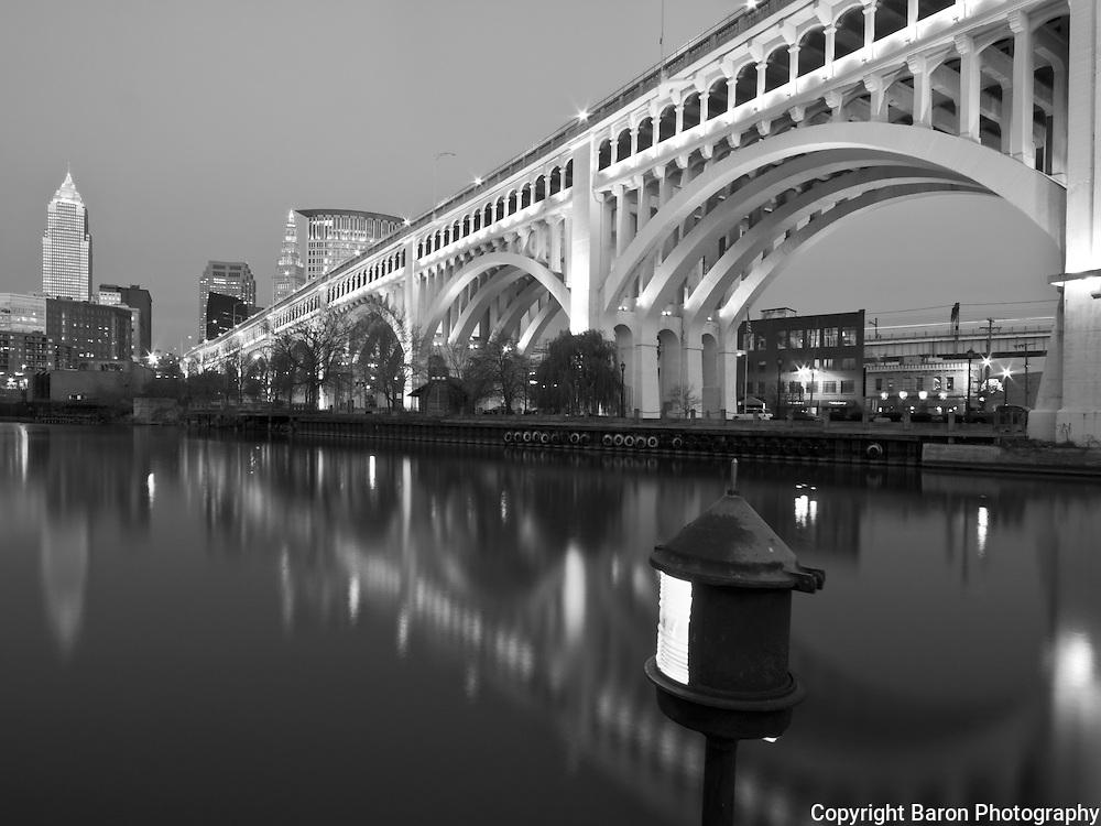 Cleveland skyline with Cuyahoga River