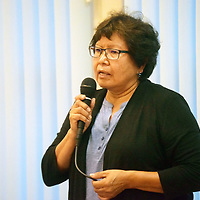 Zuni governor candidate and current council member of the Zuni Tribal Council Birdena Sanchez is seen addressing the public at a candidate forum held at the Zuni Headstart Wednesday. The Zuni Primary Election is scheduled  Sunday.