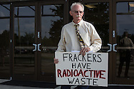 May 12, Mandeville LA,  Frederick W. Cooper protests against fracking before an educational meeting organized by  <br /> Parish Councilman Jacob Groby the Castine Center which was attended by over 300 citizens.