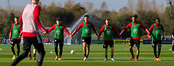 CARDIFF, WALES - Wednesday, October 7, 2020: Wales' (L-R) Neco Williams, Ethan Ampadu, Joseff Morrell, Tyler Roberts and Rabbi Matondo during a training session at the Vale Resort ahead of the International Friendly match against England. (Pic by David Rawcliffe/Propaganda)