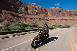 Steve DeCosa riding his 1927 Harley-Davidson JD on Utah Highway 128 north of Moab during stage 11 (289 miles) of the Motorcycle Cannonball Cross-Country Endurance Run, which on this day ran from Grand Junction, CO to Springville, UT., USA. Tuesday, September 16, 2014.  Photography ©2014 Michael Lichter.