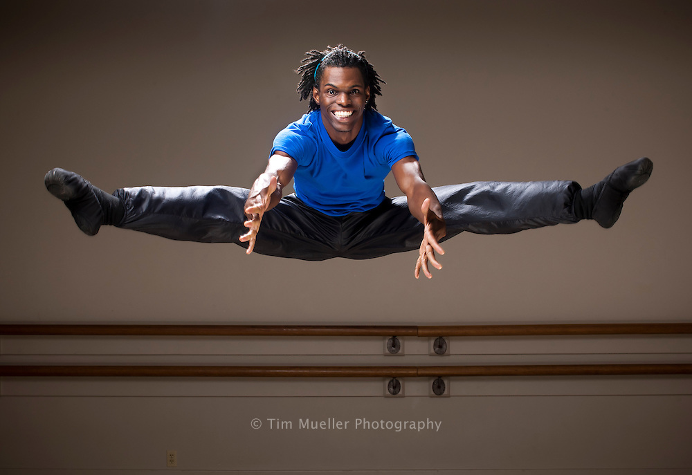 Geoffrey Hyams, a 21-year-old African American hip hop dancer, has started ballet and now practices at the Baton Rouge Ballet's Dancer Workshop.