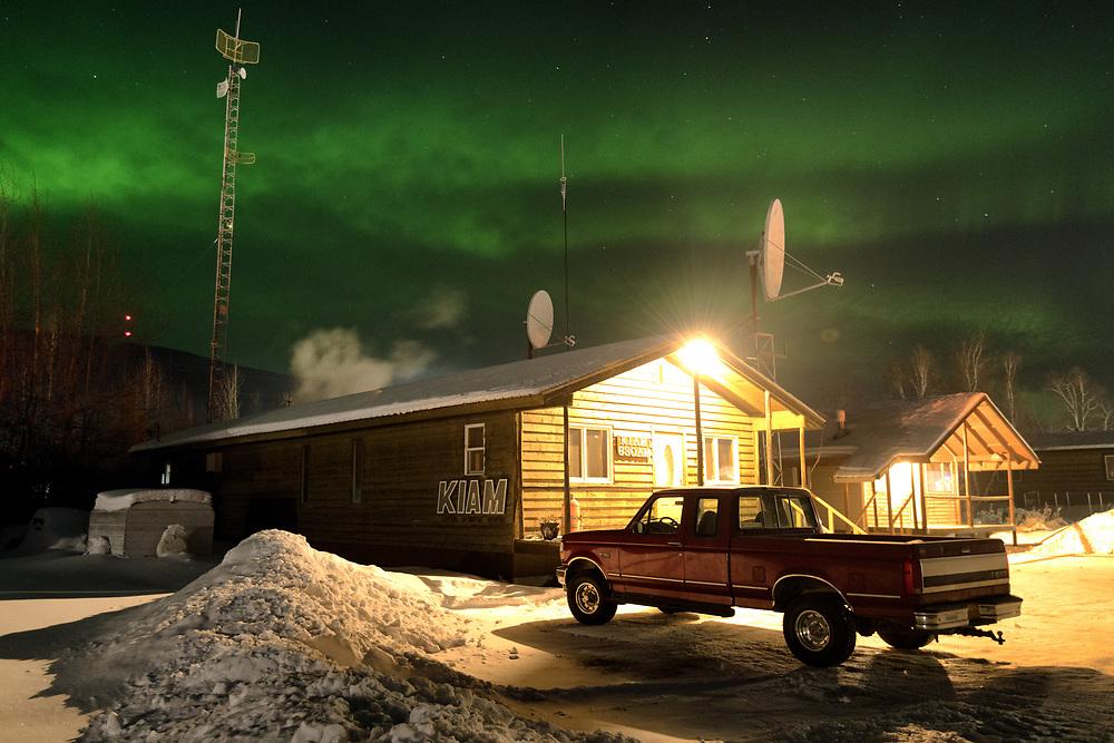 The Aurora Borealis (Northern Lights) shows up over the KIAM Radio Station in Nenana, Alaska on December 18, 2019.