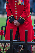 A Chelsea pensioner pays his respects - The Duke of Edinburgh, Life Member, Royal British Legion, accompanied by Prince Harry, visit the Field of Remembrance at Westminster Abbey  - 10 November 2016, London.
