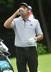 July 15, 2018 - Silvis, Illinois, U.S. - SILVIS, IL - JULY 15:  Andres Romero drinks some water during a break on the #6 hole during the final round of the John Deere Classic on July 15, 2018, at TPC Deere Run, Silvis, IL.  (Photo by Keith Gillett/Icon Sportswire) (Credit Image: © Keith Gillett/Icon SMI via ZUMA Press)