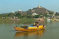 The Irrawaddy River also spelt Ayeyarwaddy is a river that flows from north to south through Burma. It is the country's largest river and most important commercial waterway. Originating from the N'mai and Mali rivers, it flows North-South before emptying into the Irrawaddy Delta and finally the Andaman Sea. After Rudyard Kipling's poem, it is sometimes referred to as 'The Road to Mandalay'..The river is vital as a considerable amount of cargo and traffic moves by river.