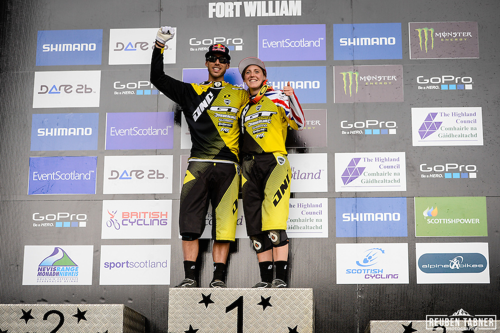 09.06.2013 Fort William, Scotland. Gee and Rachel Atherton make Fort William a family affair as brother and sister take both men's and women's titles during the UCI Mountain Bike World Cup from Fort William.