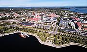 Flygbild över centrala Piteå med Södra Hamnen i förgrunden.