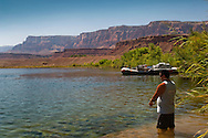 Person fishing in the Colorado River at Lee's Ferry, Glen Canyon National Recreation Area, Arizona