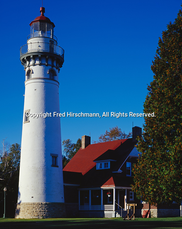 Seul Choix Point Lighthouse, built 1892 to 1895, Lake Michigan shore, Upper Peninsula, Michigan.