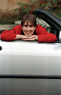 Scottish journalist and television presenter Kirsty Wark, pictured in a car at her home in Glasgow. She has presented Newsnight since 1993 and is married to the television producer Alan Clements. and together they founded independent TV production company Wark-Clements in 1990, which in May 2004 was merged with fellow Scots broadcaster Muriel Gray's Ideal World to form IWC Media. In December 2005, Wark and Gray severed their connections with IWC Media after RDF Media bought the company.