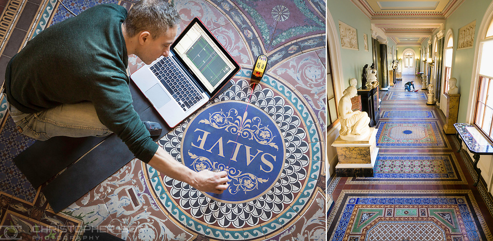 Architectural Conservator Claudio Costantino uses a laser to take measurements of the mosaic tiled corridor at Osborne on the Isle of Wight.<br /> Picture date: Thursday January 19, 2017.<br /> Photograph by Christopher Ison ©<br /> 07544044177<br /> chris@christopherison.com<br /> www.christopherison.com