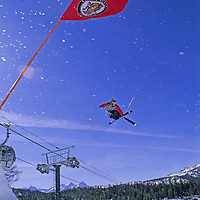 SKIING.  Ben Wiltsie (MR) jumps in terrain park, Mammoth Mountain Ski Area, Calif.