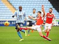 Coventry City's Marc-Antoine Fortune vies for possession with Fleetwood Town's Eggert Jonsson<br /> <br /> Photographer Andrew Vaughan/CameraSport<br /> <br /> Football - The Football League Sky Bet League One - Coventry City v Fleetwood Town - Saturday 27th February 2016 - Ricoh Stadium - Coventry   <br /> <br /> © CameraSport - 43 Linden Ave. Countesthorpe. Leicester. England. LE8 5PG - Tel: +44 (0) 116 277 4147 - admin@camerasport.com - www.camerasport.com