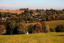 CZECH REPUBLIC VYSOCINA NEDVEZI OCT12 -  The village of Nedvezi in autumn colours, seen from Navratiluv hill, Vysocina, Czech Republic.....jre/Photo by Jiri Rezac....© Jiri Rezac 2012