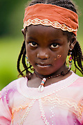 Young girl outside the Bazzama Integrated Health Center in the town of Bazzama, Cameroon on Wednesday September 16, 2009.