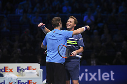 November 19, 2017 - London, England, United Kingdom - Henri Kontinen of Finland and John Peers of Australia celebrate victory following the doubles final against Marcelo Melo of Brazil nd Lukasz Kubot of Poland during day eight of the 2017 Nitto ATP World Tour Finals at O2 Arena on November 19, 2017 in London, England. (Credit Image: © Alberto Pezzali/NurPhoto via ZUMA Press)