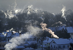 With temperatures dipping into the upper 20's below zero with a -50 wind chill, St. Paul's West 7th neighborhood was steaming Wednesday morning as furnaces tried to keep up with the record breaking cold on January 30, 2019. Photo by Brian Peterson/Minneapolis Star Tribune/TNS/ABACAPRESS.COM