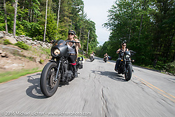 Leticia Cline and Lilly James of the Iron Lilies out riding during Laconia Motorcycle Week 2016. NH, USA. Sunday, June 19, 2016.  Photography ©2016 Michael Lichter.